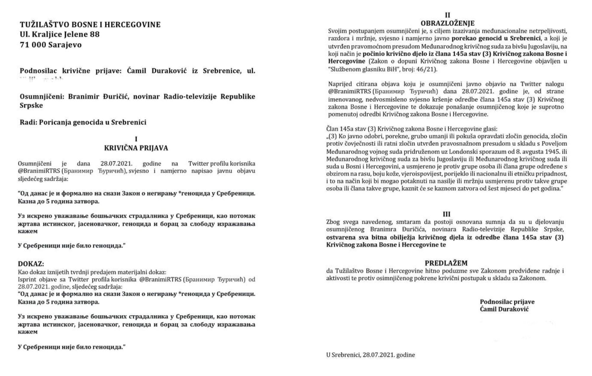 Ćamil Duraković podnosi krivičnu prijavu protiv novinara zbog negiranja genocida