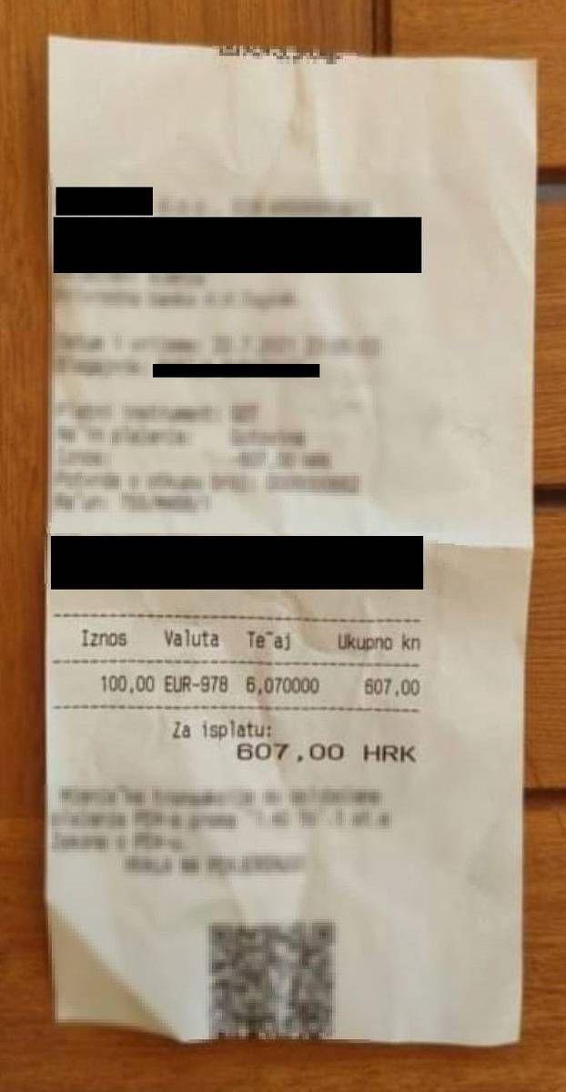 Račun iz mjenjačnice na Jelsi (24sata.hr)