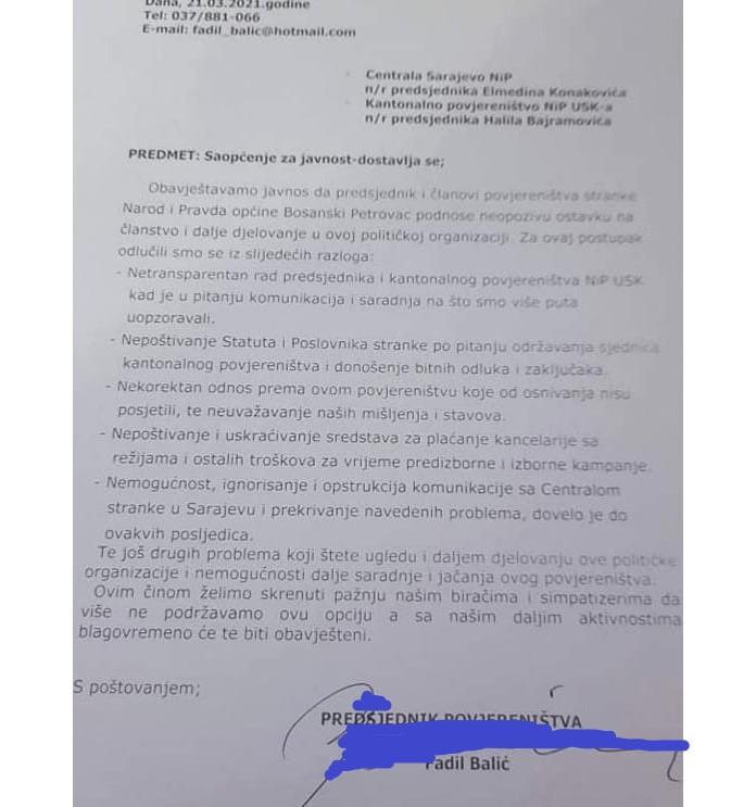 Ostavke u člantvo NiP-a/USN.ba