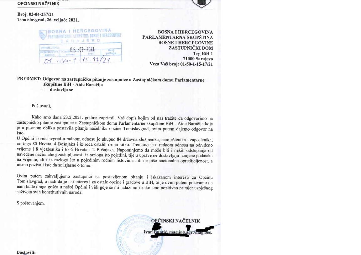 Odgovor načelnika Općine Tomislavgrad