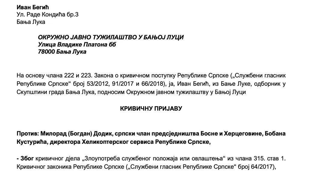 """Još jedna krivična prijava protiv """"prvog letača RS-a"""" Milorada Dodika"""
