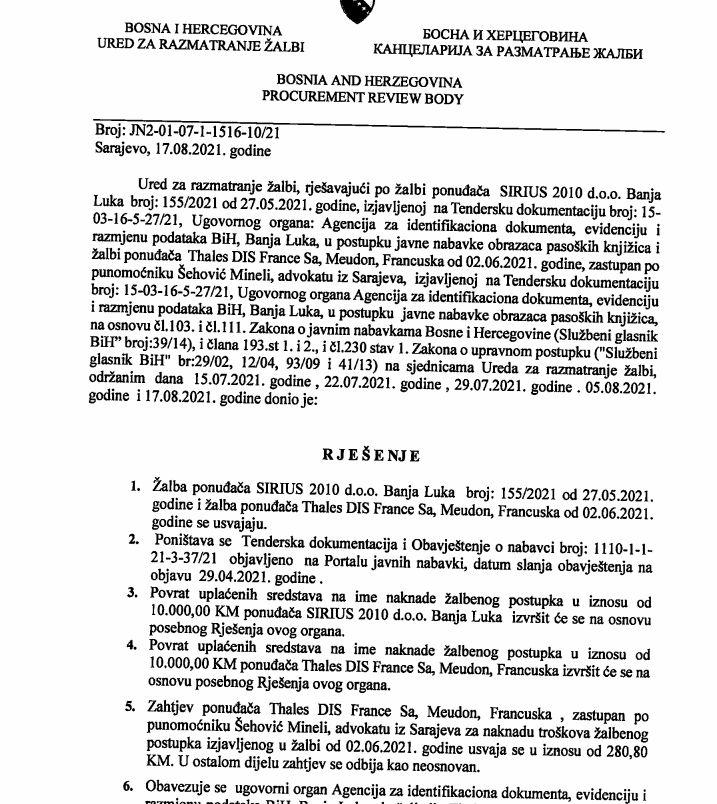 Rješenje Ureda za razmatranje žalbi BiH, IDDEEA, august 2021.